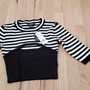 Bebe nwt striped black white knit crop top Suzy